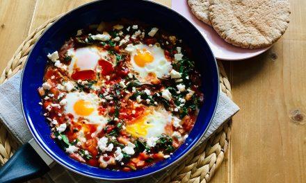 Shakshuka met spinazie en feta kaas