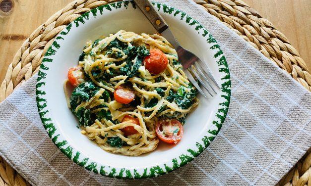 Pasta ricotta met ei en spinazie