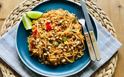 Pad thai met kip en groenten